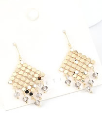Fashion 14k Gold + Gray S925 Silver-pin Crystal Glass Fringed Earrings