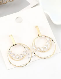 Fashion 14k Gold  Silver Pin Gold Plated Large Circle Hollow Diamond Earrings