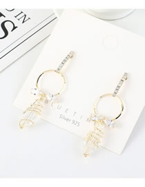 Fashion 14k Gold S925 Silver Pin Crystal Glass Large Gold Plated Hollow Earrings