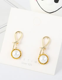 Fashion Yellow S925 Silver-plated Real Gold-plated Sunflower Pearl Knotted Earrings