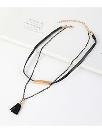 Fashion Black Gold-plated Fringed Multilayer Necklace
