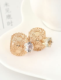 Fashion White Small Wine Bottle Stud Earrings With Crystal Flowers
