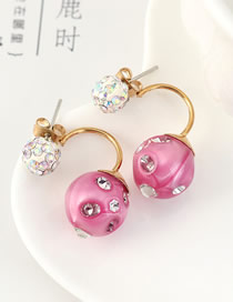 Fashion Pink Crystal Ball Stud Earrings