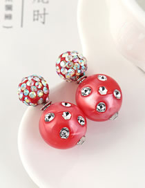 Fashion Red Ball Inlaid Crystal Earrings