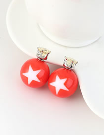 Fashion Blue Small Five Star Ball Stud Earrings