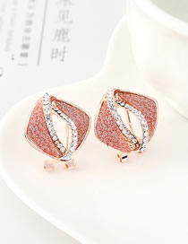 Fashion Red Kite Cutout Gold Stud Earrings With Diamonds