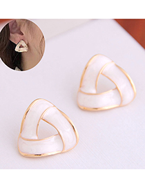 Fashion White Dripping Alloy Geometric Hollow Stud Earrings