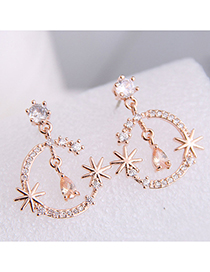 Fashion Rose Gold 925 Silver Pin Alloy Stud Earrings With Moon And Star