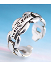 Fashion Silver Smiley Letter Geometric Cutout Open Ring