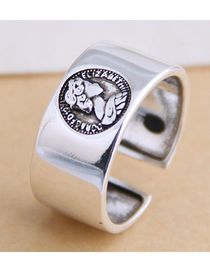 Fashion Silver Portrait Letter Embossed Wide Edge Open Ring