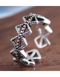 Fashion Silver Geometric Diamond Openwork Ring