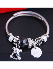 Fashion Black Diamond Bangle Alloy Letter Bracelet