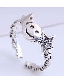 Fashion Silver Smiley Pentagram Openwork Ring