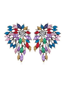 Fashion Color Mixing Diamond-shaped Flower Geometric Hollow Alloy Earrings