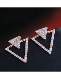 Fashion Rose Gold Micro-set Zircon Geometric Triangle Hollow Earrings