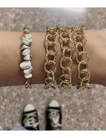 Fashion White Thick Chain Alloy Hollow Stone Multi-layer Bracelet