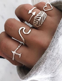 Fashion Silver Aircraft Love Leaf Alloy Hollow Ring Set