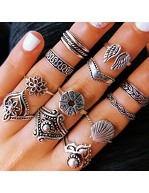 Fashion Silver Wing Shell Round Alloy Geometric Ring Set