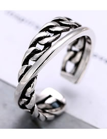 Fashion Silver Hollow Weave Alloy Open Ring