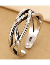 Fashion Silver Woven Cross Hollow Alloy Open Ring