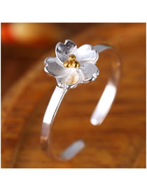 Fashion Silver Flower Alloy Open Ring