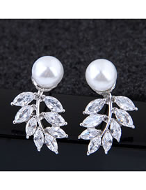 Fashion Silver Inlaid Zircon Branch And Leaf Pearl Earrings
