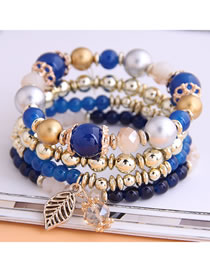 Fashion Blue Crystal Bead Alloy Leaf Multi-layer Bracelet