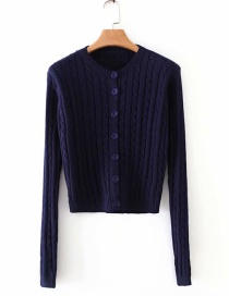 Fashion Navy Twist Knitted Sweater