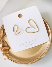 Fashion Golden Geometric Line Heart Stud Earrings