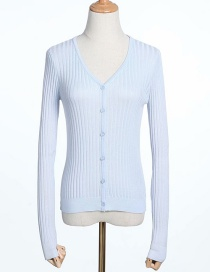 Fashion Light Blue V-neck Single-breasted Knitted Cardigan
