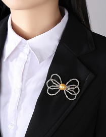 Fashion Golden Copper Brooch With Zircon Bow And Pearl