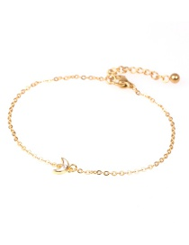 Fashion Golden Dripping Oil And Diamond Moon Bud Stainless Steel Bracelet