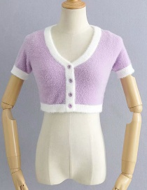 Fashion Purple Mohair Colorblock Cropped Sweater