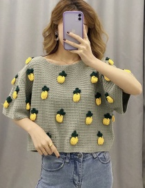 Fashion Grey-green Pineapple Pattern Stitching Pullover Sweater Sweater