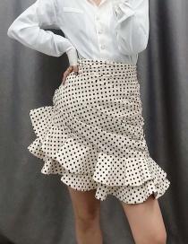 Fashion Beige Dot-print Pleated Irregular Skirt