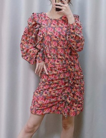 Fashion Pink Pleated Floral Print Dress
