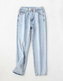Fashion Light Blue Washed High-rise Tapered Jeans