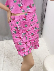 Fashion Rose Red Floral Print Pleated Skirt