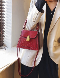 Fashion Red Wine Stone Pattern Square Buckle Shoulder Cross-body Bag