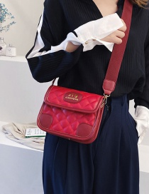 Fashion Red Embroidered Rhombus Stitching Shoulder Bag