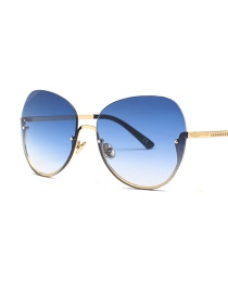 Fashion Gradual Blue Rimless Frame Embossed Alloy Frame Sunglasses