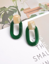 Fashion Green Acrylic Resin Hollow Geometric Contrast Color Stud Earrings