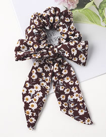 Fashion Wine Red Fabric Floral Knotted Bow Ribbon Bowel Hair Rope