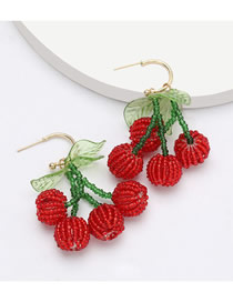 Fashion Red Lantern Fruit And Pearl Woven Contrast Earrings