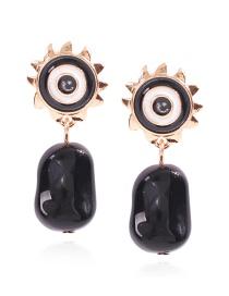 Fashion Black Alloy Resin Geometric Eye Studs