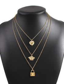 Fashion Golden Alloy Multilayer Bee Necklace