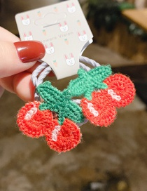 Fashion Red 1 Pair Cherry Wool Knitted Children's Hair Rope