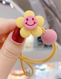 Fashion Yellow Smiley Little Flower Ball Hitting Color Knotted Hair Rope