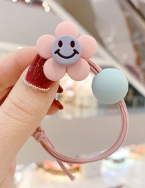 Fashion Light Pink Smiley Little Flower Ball Hitting Color Knotted Hair Rope