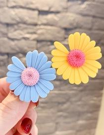 Fashion Blue Gray + Yellow Little Daisy Flowers Hit Color Children Duckbill Clip Set